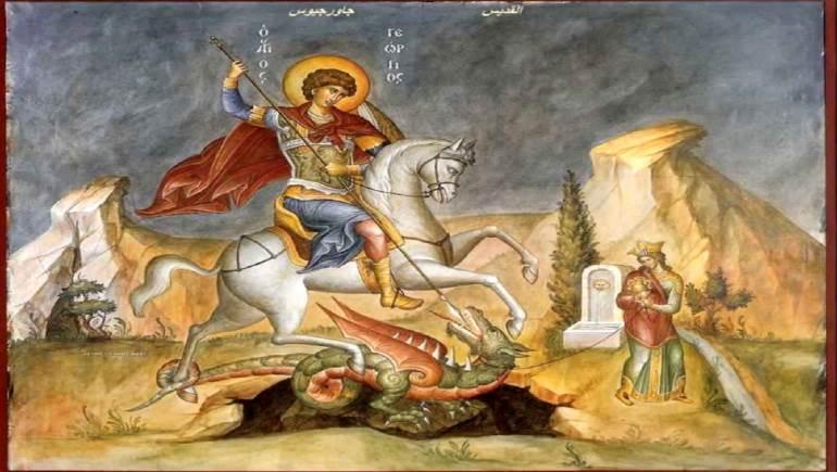 جاورجيوس منقذا الأميرة، جدارية معاصرة.