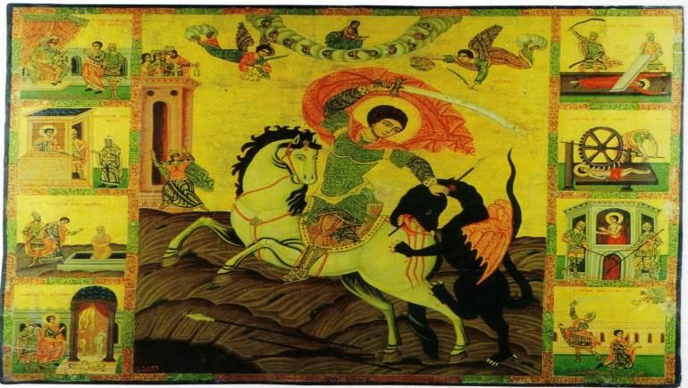 القديس جاورجيوس، أيقونة سورية من عام 1859، مطرانية الأرمن الكاثوليك في حلب.